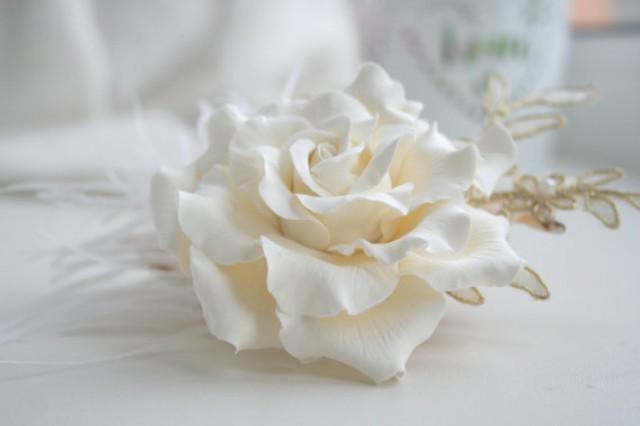 wedding photo - Ivory rose hair clip, Ivory bridal hair flower, Wedding hair flower, wedding flower headpiece, bridal lace headpiece, rose hair, lace hair