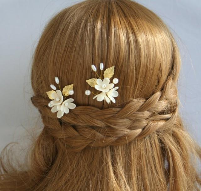 wedding photo - Flower bridal hair pin, wedding hair pin, flower hair pins, Pearls hair pin, Bridal hair flower, Gold wedding hair pins, clay flower