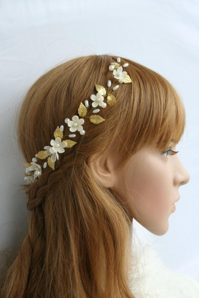 wedding photo - Gold leaf, flower headpiece, Bridal flower headpiece, Wedding flower headpiece, Bridal tiara, weddig pearl tiara, hair accessories