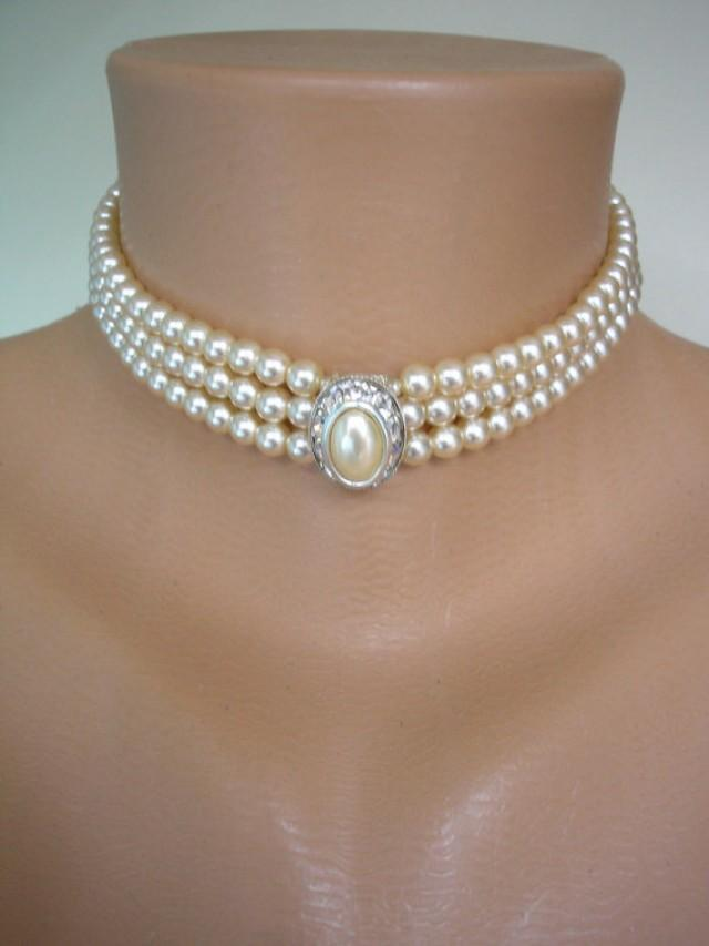 Pearl Choker Cream Pearls Great Gatsby Pearl And