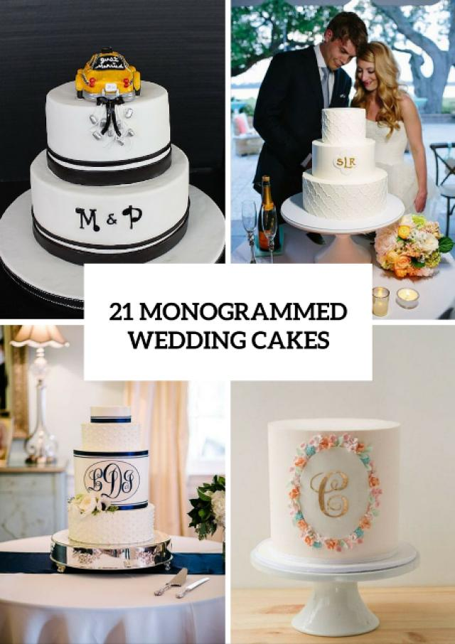 21 unique monogrammed wedding cakes weddingomania weddbook. Black Bedroom Furniture Sets. Home Design Ideas
