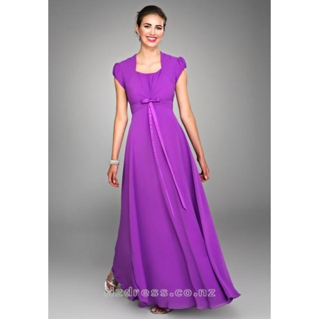 wedding photo - Beautiful Purple Square Neckline Sash / Ribbon Empire Wasit Chiffon Satin Gown with Cap Style Sleeves for Bridesmaid