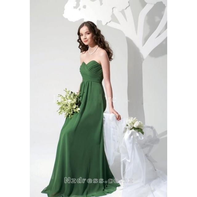 wedding photo - Beautiful Sheath Green Chiffon Sweetheart Wrinkle Bridesmaid Dress Nz