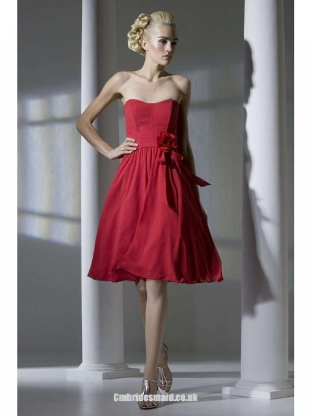 wedding photo - Fasion Red Short Uk Bridesmaid Dresses UK with Strapless,A-line,Chiffon Fabric,Knee-length