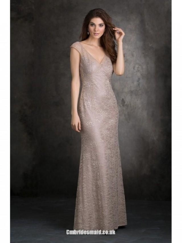 wedding photo - Fashion Design Women Long Uk Bridesmaid Dresses UK with V-neck,A-line,Lace Fabric,Floor-length