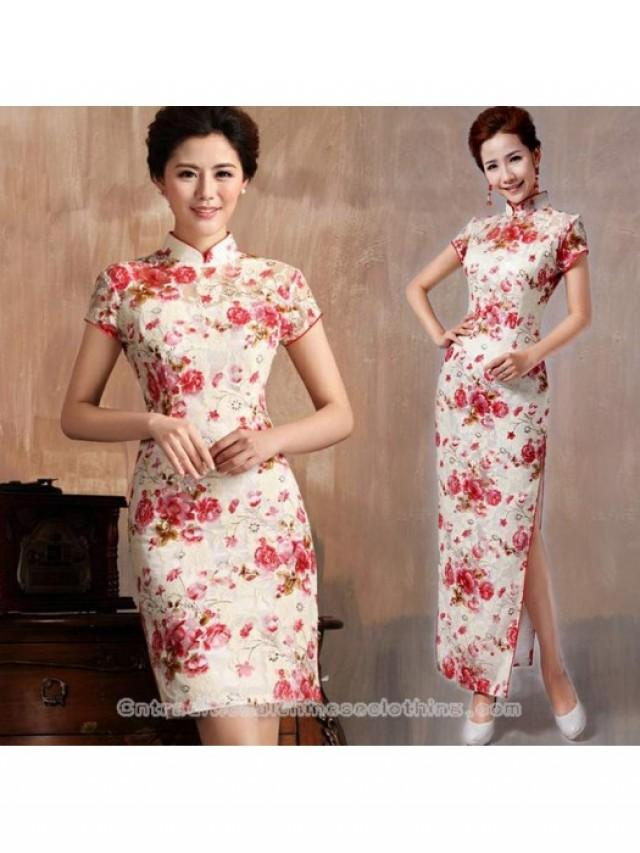 wedding photo - Floral lace cheongsam white and red modern qipao sheath dress