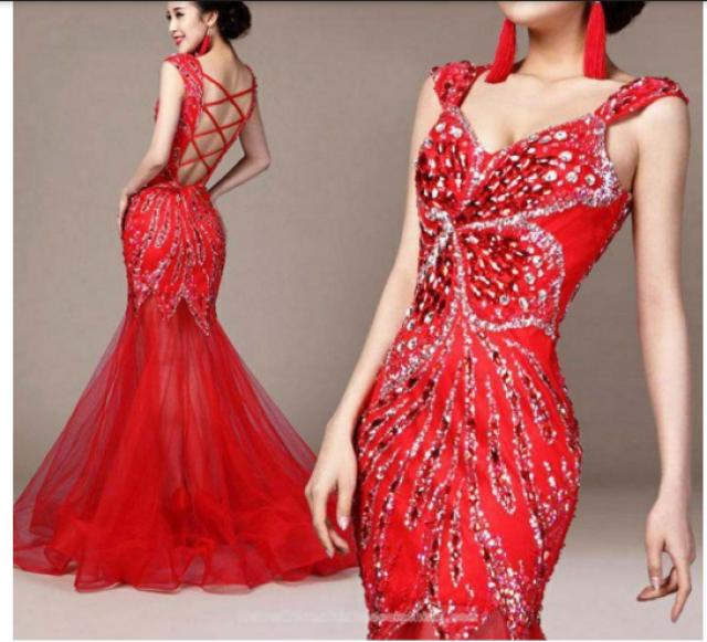 wedding photo - Floral inspired beaded floor length evening dress red mermaid bridal wedding gown