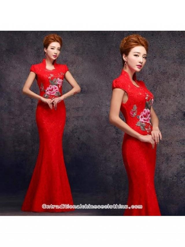 wedding photo - Floral embroidered stand up TangZhuang collar red lace wedding dress