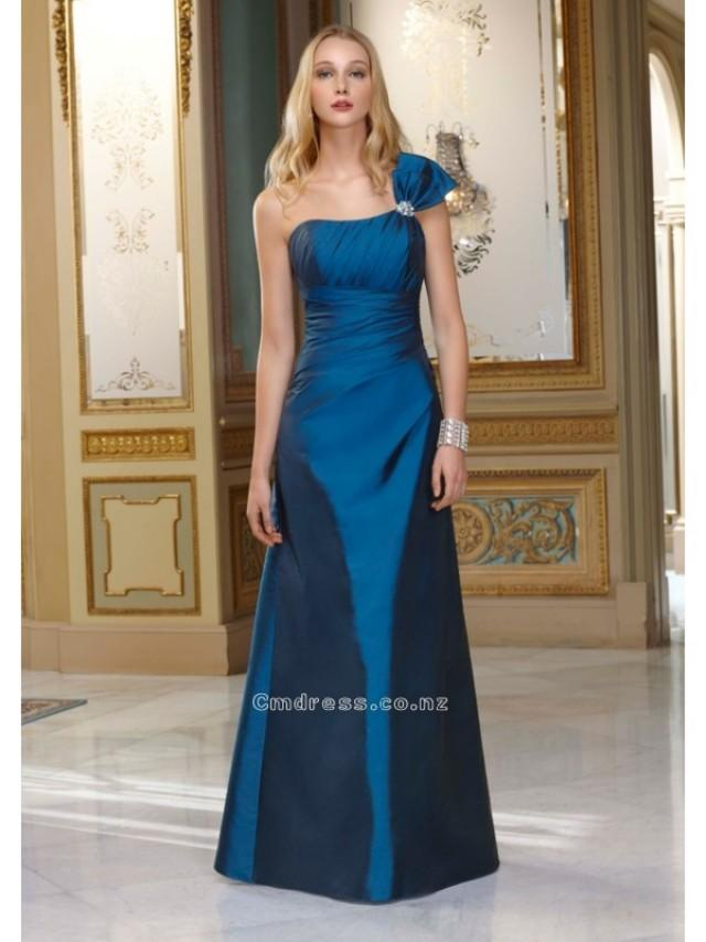 wedding photo - A-Line One-Shoulder Floor-length Taffeta Bridesmaid DressSKU: MLB654