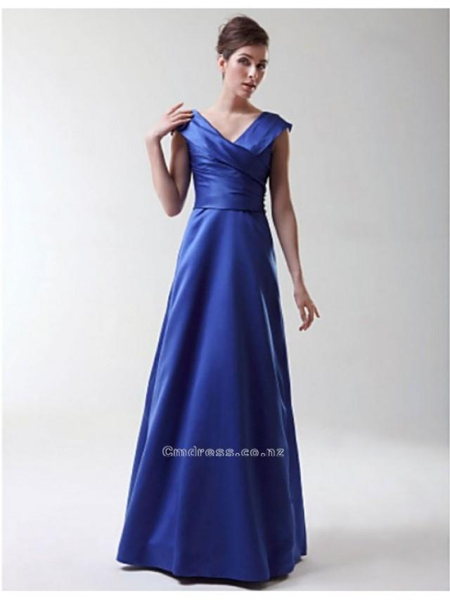 wedding photo - A-line Princess V-neck Floor-length Stretch Satin Bridesmaid/Wedding Party Dress SKU: SAL2209-LT