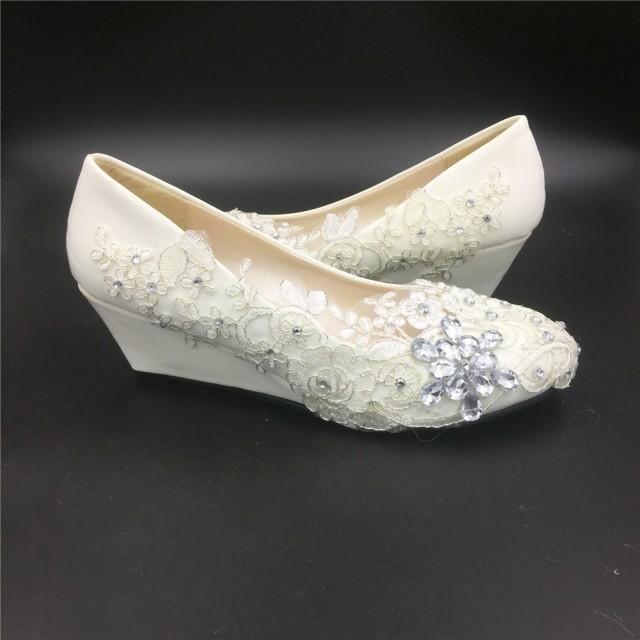 Ivory White Wedding Wedges,Women Bridal Wedges Shoes ...