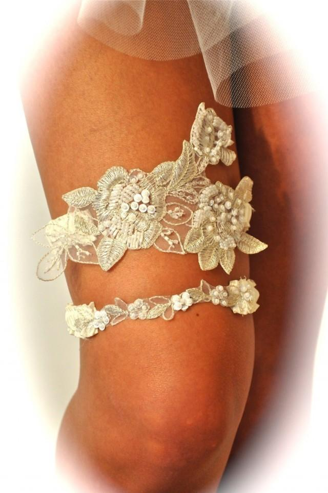 Garters Wedding Garter Set As Open Heart In Beaded Regal Lace 2477889