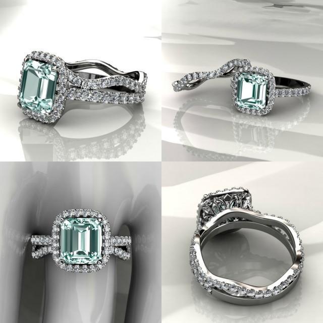 aquamarine halo engagement ring with matching band