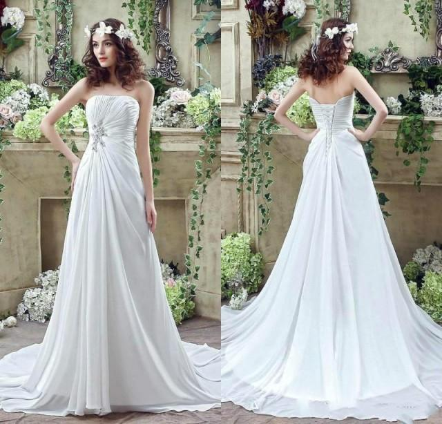 2016 Spring Chiffon Wedding Dresses Strapless Crystal Pleated A Line Cheap Garden Bridal Dresses