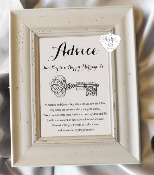 The Key To A Happy Marriage Sign Pick Your Sign 5x7 Or