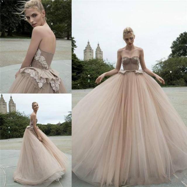Charming champagne wedding dresses color 2016 sweetheart for Champagne colored wedding dresses