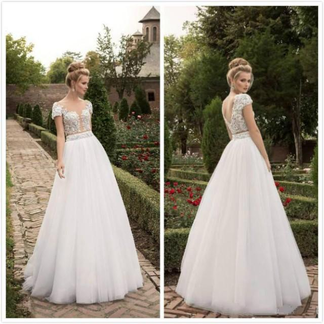 Simple garden wedding dresses with cap sleeves lace floor for Simple wedding dress for outdoor wedding