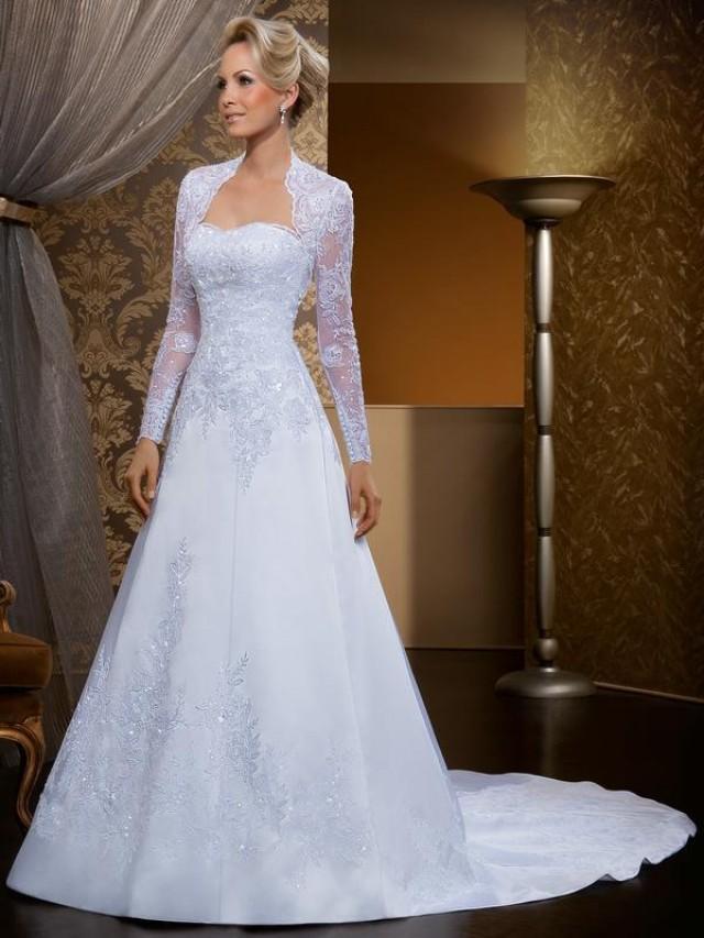 Vintage 2016 Train Wedding Dresses With Long Sleeve Jacket Lace A Line Applique Sequins Bridal