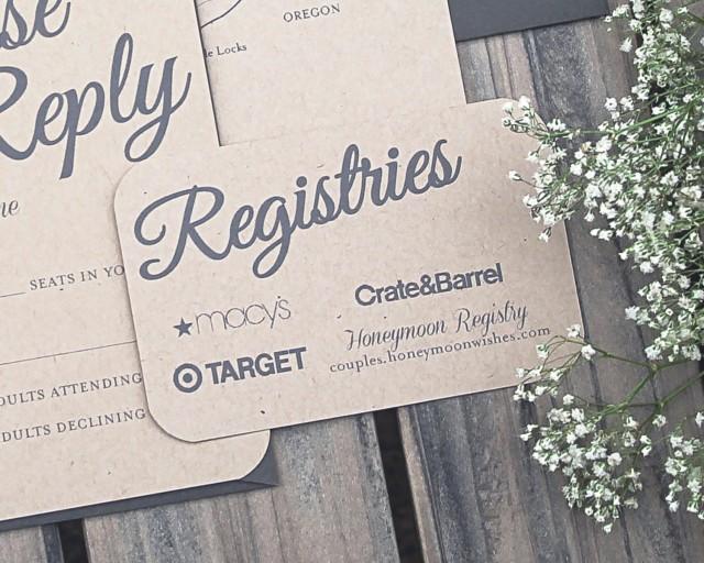 Wedding Registry Invitation: Set Of Rustic Paper Bag And Gray Elegant Modern Wedding