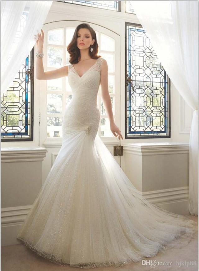 Sexy V Neck Sparkling Mermaid Wedding Dresses Beads Pleated Fitted 2016 Corset Sheer Tulle