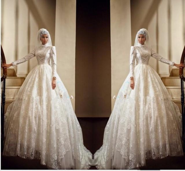 2016 retro lace muslim wedding dresses long sleeves high for Winter vintage wedding dresses