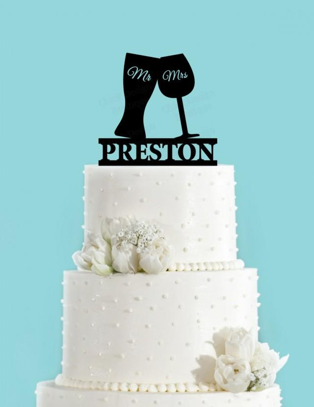 Beer And Wine Glass Toasting Personalized Acrylic Wedding Cake Topper 2478754