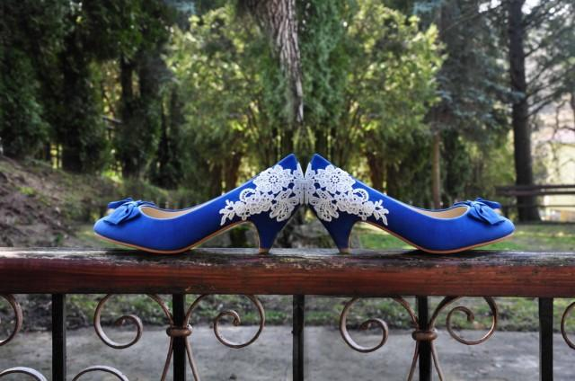 Wedding Shoes Blue Wedding Shoes Royal Blue Low Heels Reception ...