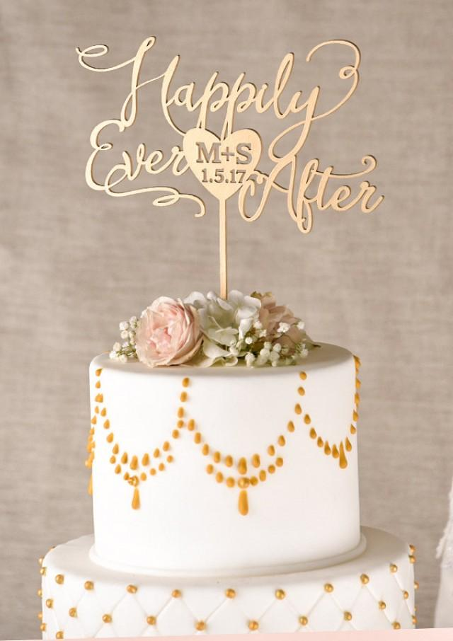 Gold Cake Topper Golden Wedding Cake Topper Happily Ever After