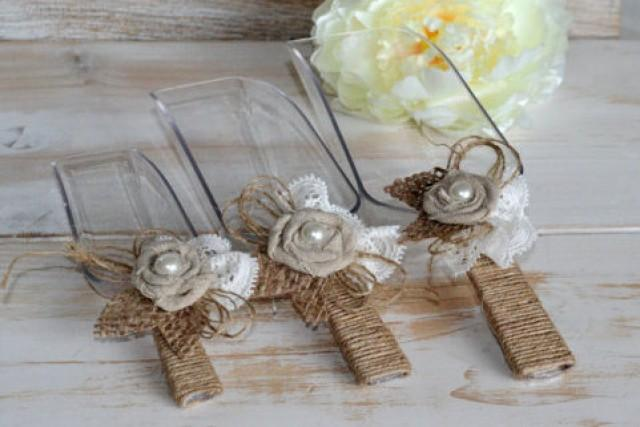 Rustic Candy Bar Scoops Buffet Burlap Scoops Shabby Chic