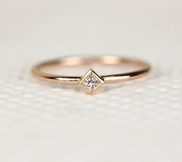 Princess Cut Diamond Engagement Ring In 14k Solid Rose Gold Thin Dainty Diamo