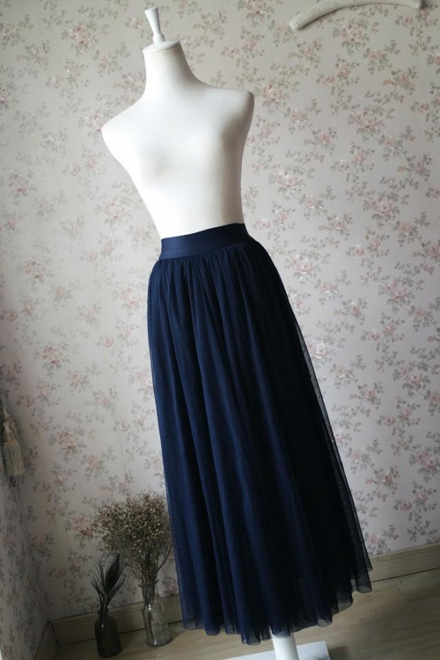 2016 navy tulle skirt maxi tulle skirt elastic plus size