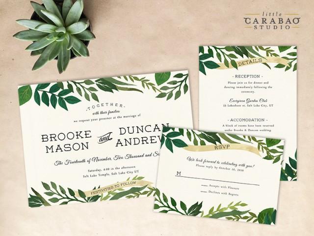 digital wedding invitation set printable botanical wedding, Wedding invitations