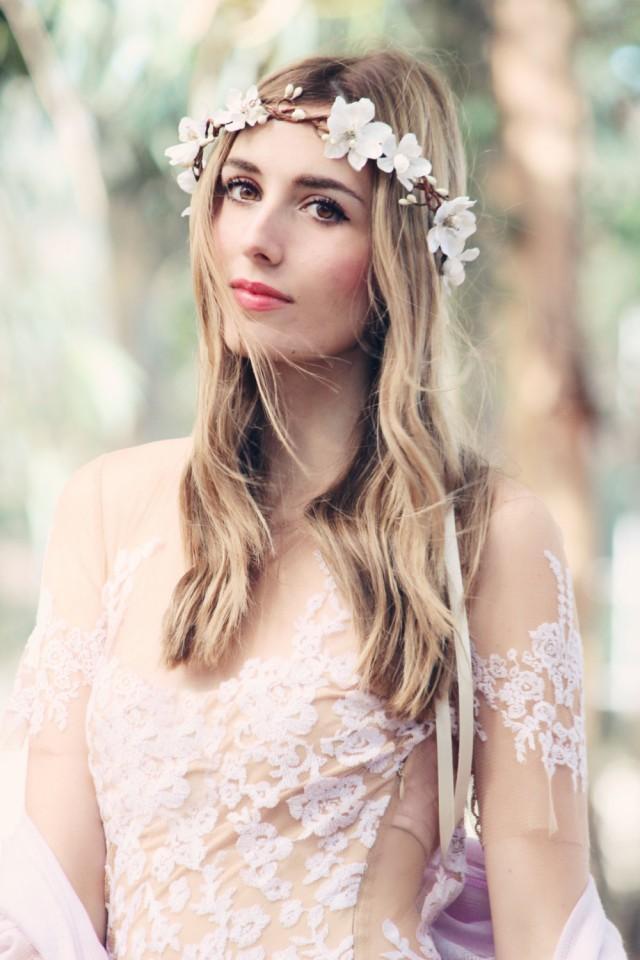 wedding photo - ivory boho wedding wreath, cream bridal flower crown, bridal headband, wedding headband, bridal headpiece, wedding accessories