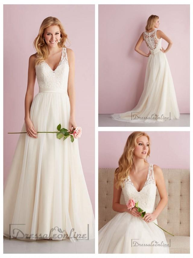 wedding photo - Pleated Bodice Curved Neckline Ball Gown Wedding Dress