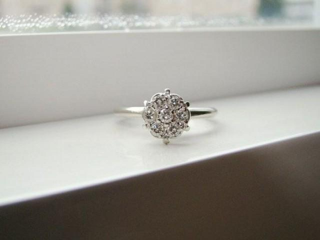 Antique Diamond Engagement Ring Vintage Flower Wedding Ring Mid Century White