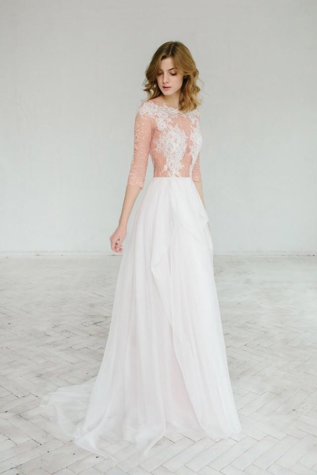 Blush Wedding Dress 1402 : Dress blush wedding rosy iris weddbook