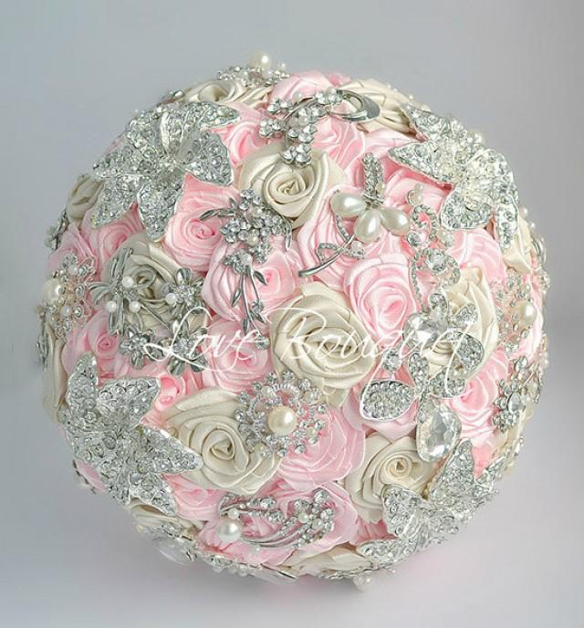 Brooch Bouquet Pink And Silver Wedding Brooch Bouquet Bridal