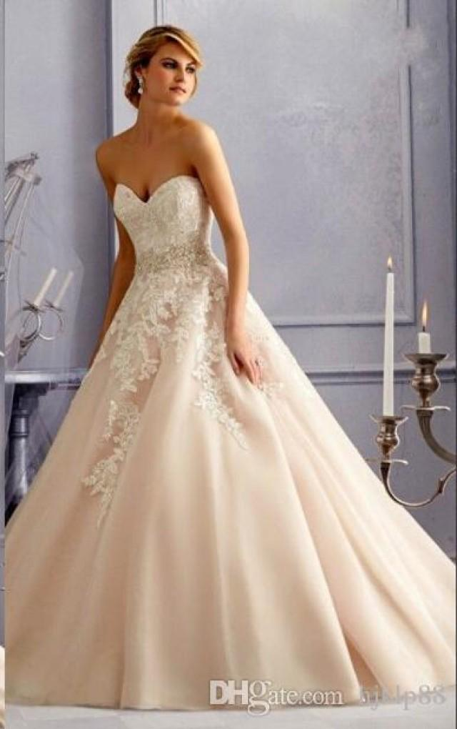 Exquisite 2016 blush pink wedding dresses sweetheart beads for Custom wedding dress online