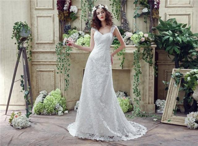 Lace Wedding Dress With Cap Sleeves Style D1919 : New style white mermaid wedding dresses cap sleeve full lace
