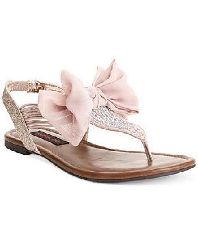 Material Girl Skylar Pink Blush Flat Sandals Womens Shoes