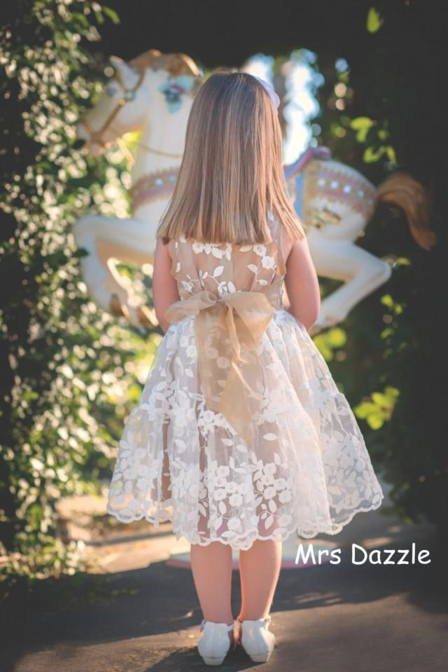 Lace Flower Girl Dress Girls Dress Champagne Dress Brown