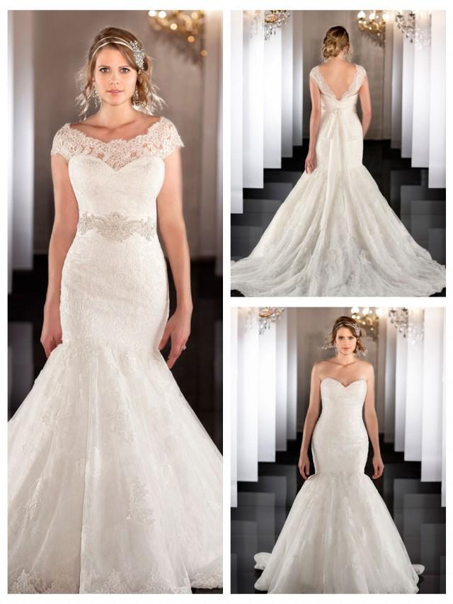 wedding photo - Illusion Detachable Neckline Fit Flare Sweetheart Mermaid Wedding Dress