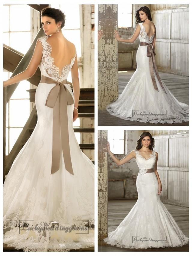 Straps v neck trumpet lace wedding dresses with deep v for Deep v back wedding dress