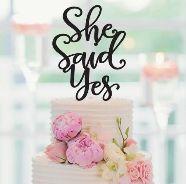 Cake topper she said yes cake topper engagement party for Yes decoration