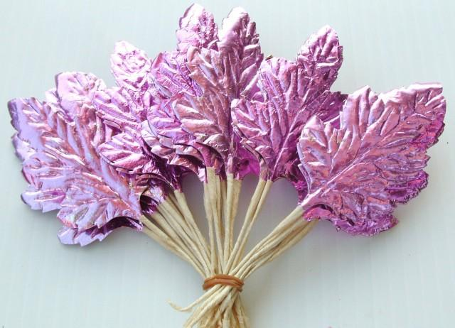 Pink chistmas wreath millinery flower pink metallic leaves for Silver foil paper craft