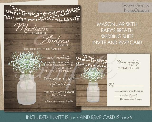 Digital Wedding Invitation Ideas: Rustic Wedding Invitation Printable Mason Jar And Baby's