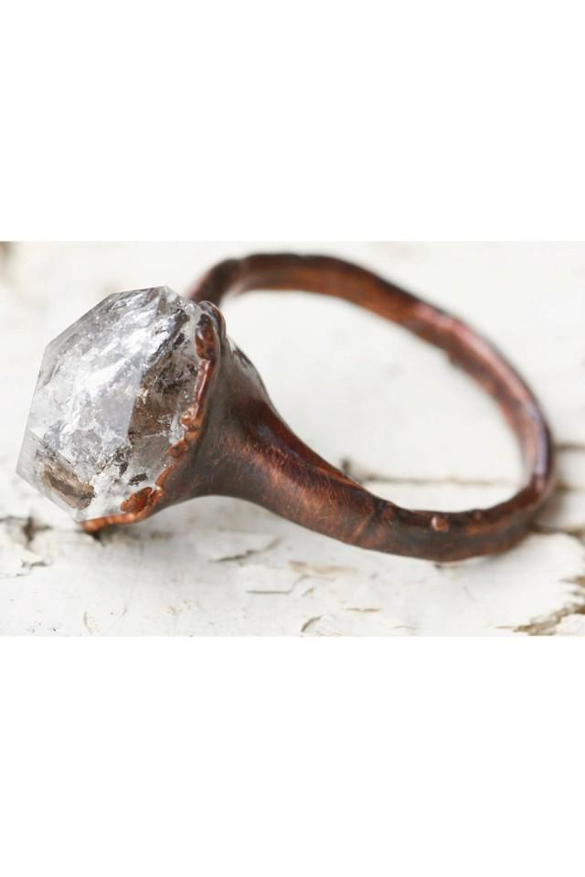 Unique engagement ring promise ring for her stone for Quartz wedding rings