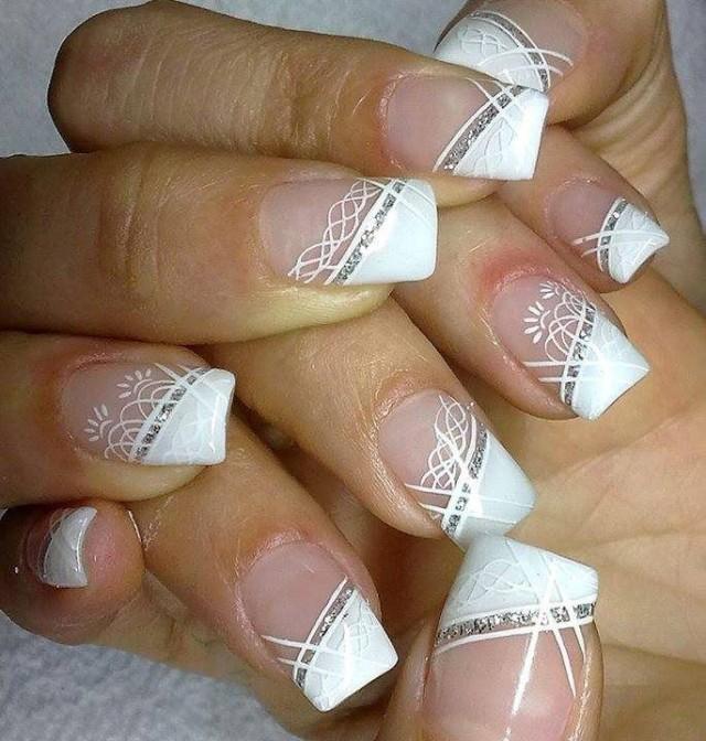 Diagonal French Nail Designs