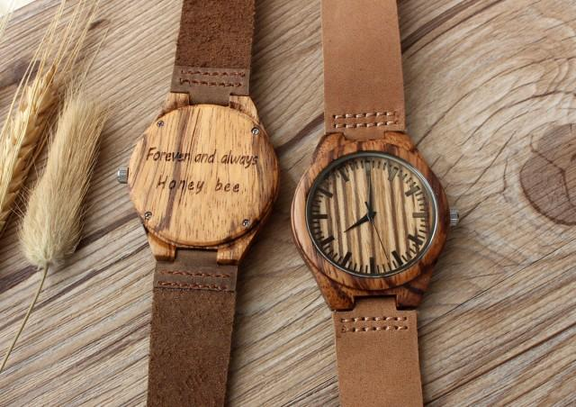 Real Wood Watches, Engraved Watch, Mens Watch, Customized ...