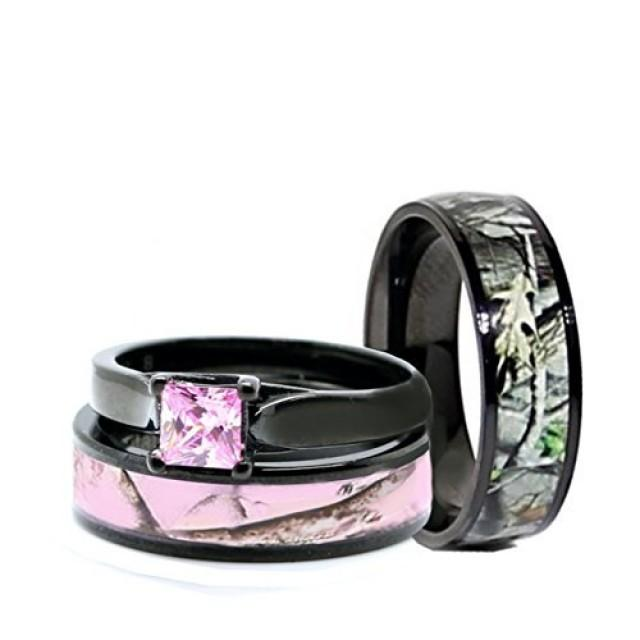 His And Hers Pink Women & Men Black Titanium Camo And Sterling Silver Pri